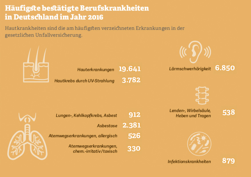 Grafik: Häufigste bestätigte Berufskrankheiten  in Deutschland im Jahr 2016. Quelle: Deutsche Gesetzliche Unfallversicherung DGUV, Bestätigte BK-Fälle 2016