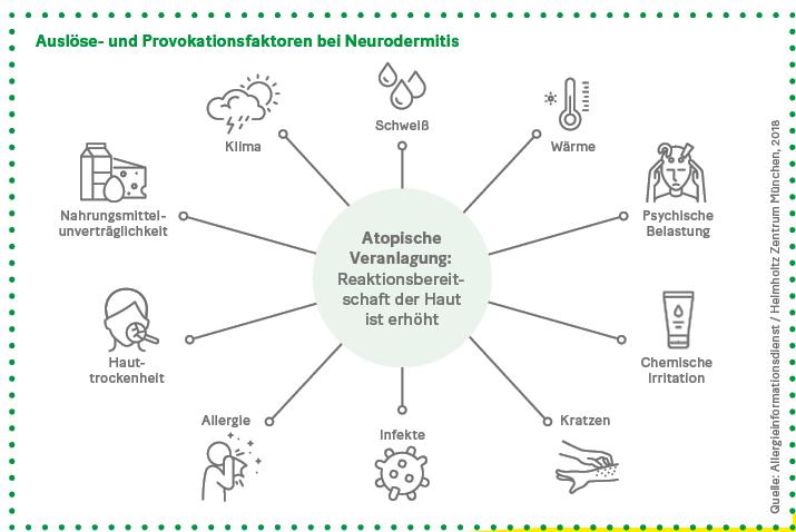 Grafik: Auslöse- und Provokationsfaktoren bei Neurodermitis